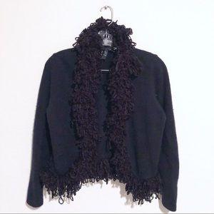Vintage Lambswool Angora Fur, Nylon Black Cardigan
